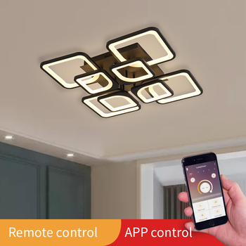 Modern led Chandelier Lights For Living Room Dining Kitchen Bedroom Home Black Rectangle indoor Ceiling Lamp Lighting Fixtures