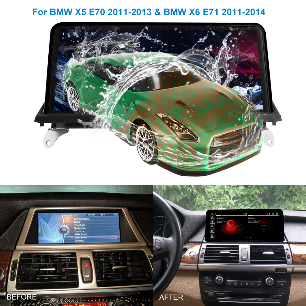 10.25 Touch Screen Display Car Android 9.0 Multimedia Player Audio for BMW X5 X6 E70 E71 2007-2014 Wifi CCC CIC GPS Navigation image