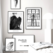 Black And White Girl Wings Feather Model Wall Art Canvas Painting Nordic Posters Prints Pictures For Living Room Decor