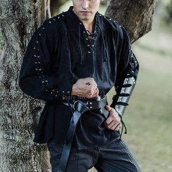 Medieval Cosplay Costume Nordic Viking Pirate Fashion Mens Bandage Long Sleeve Renaissance Shirt Knight Punk Men Warrior