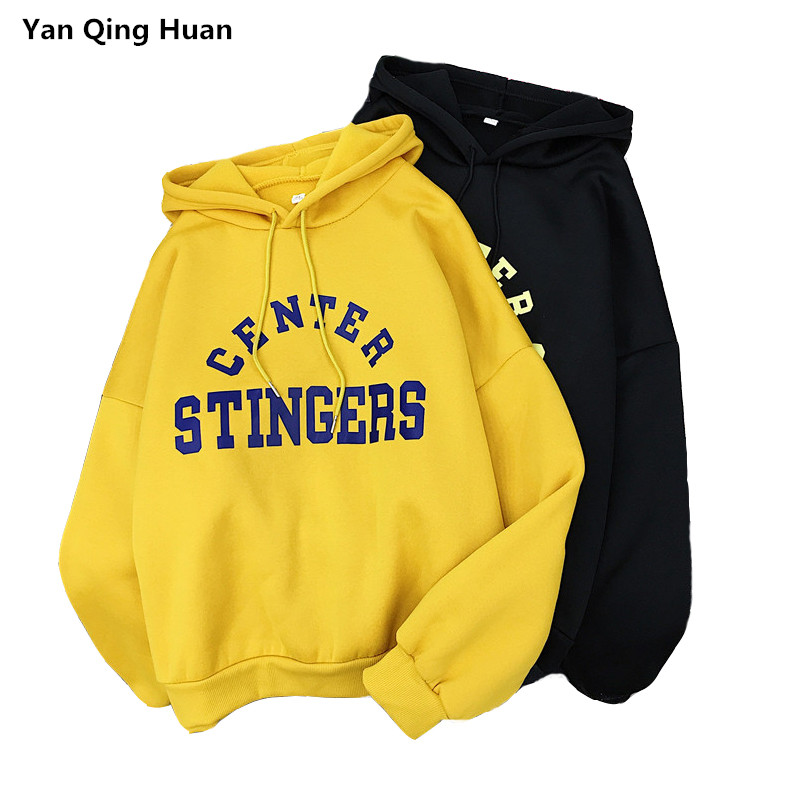 Fashion Loose Hoodies Top Knitted Letter Harajuku Print Pullover Style Plus Velvet Thicken Sweatshirt Ladies Fall Winter Wear