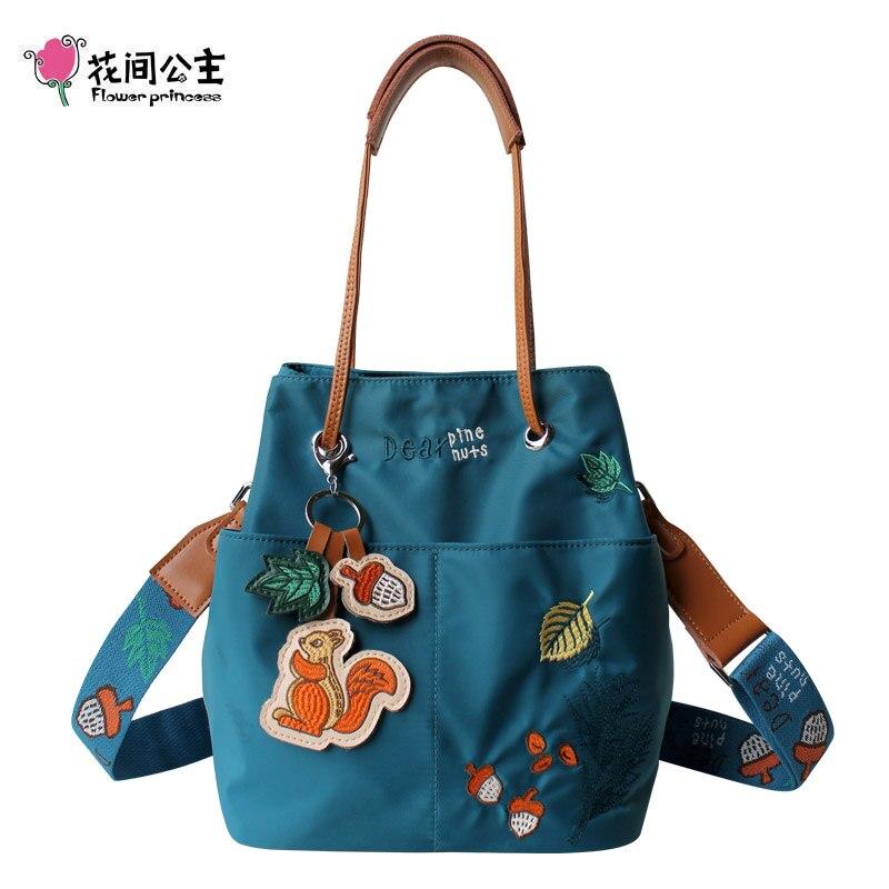 Flower Princess Embroidery Squirrel Women Bucket Bag Waterproof Fashion Shoulder Bags Original Design Women Handbags Wide Strap