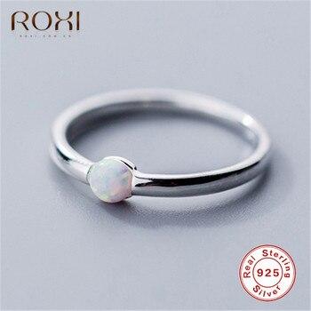 Anillos ROXI de ópalo redondos de Plata de Ley 925 para mujer, anillo de boda clásico minimalista, anillo fino para dedo índice, joyería para parejas