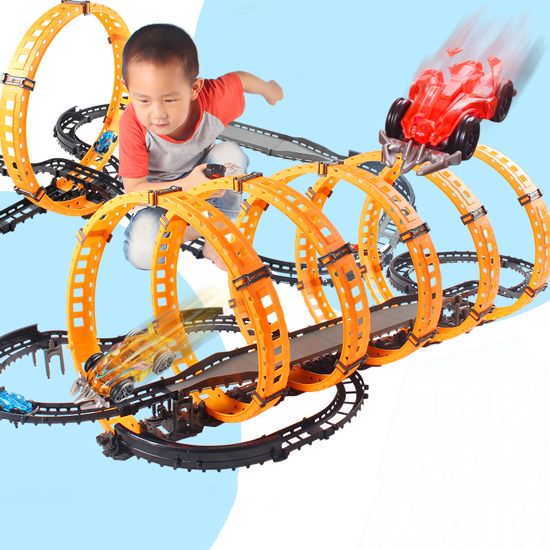 Rc  High-speed Track Return Track Children's Educational Toy Gift Children's Track Diy Stitching Competition Car Children's Toys