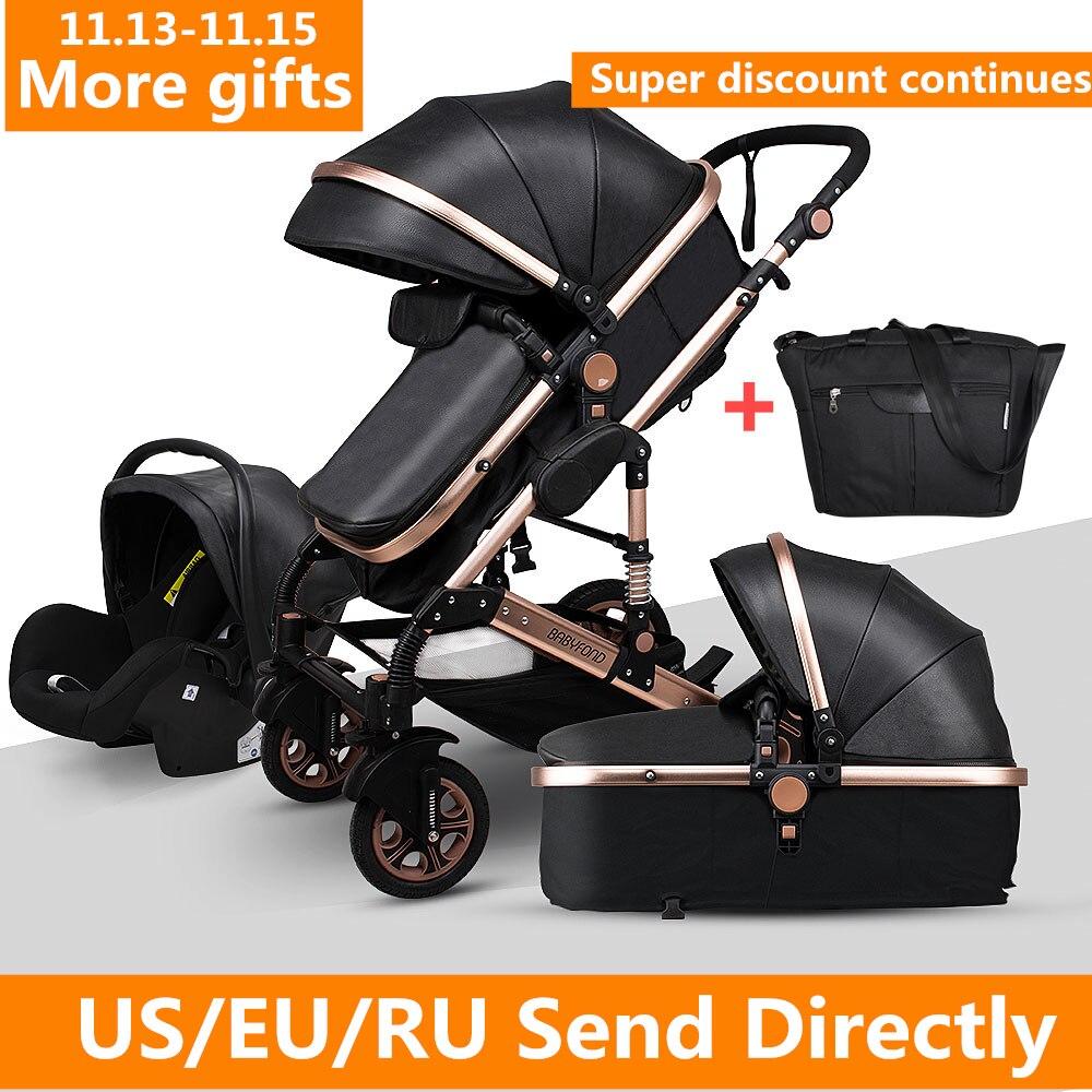 Newborn Baby Stroller 3 in 1 High Landscape Carriages Luxury Travel Pram Quality Bebe Basket Whit Ca