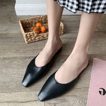 Women Mules Slippers Flat Women Casual Shoes Slip On Slides Mules Square Toe Low Heel Shoes Wedges Lady Sandals wedges slippers women 2018 slides sandals shoes women genuine leather closed toe handmade comfortable women flat shoes