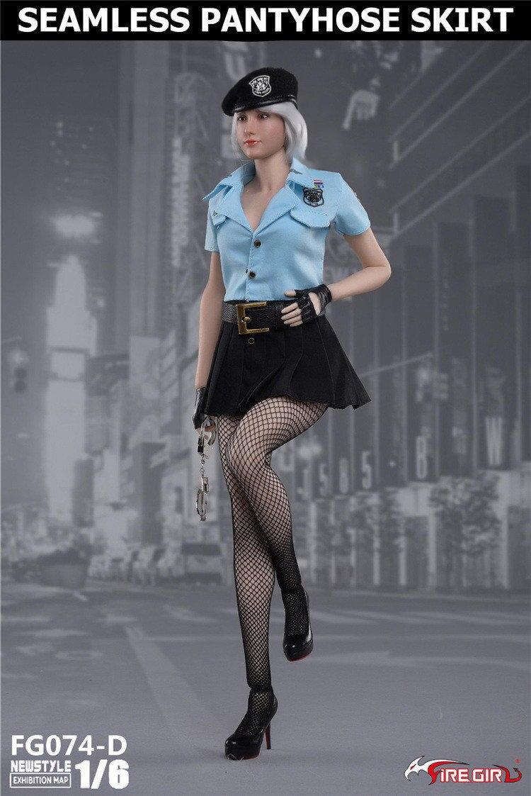 Bricolage feu fille jouets 1/6 FG074 tireur femme police derss jupe avec bas casquette sous-vêtements vêtements ensembles sans corps Figure - 5