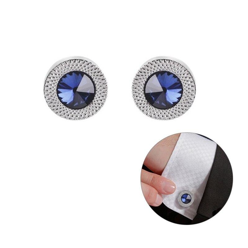 1 пара, модные женские синие белые запонки, хрустальные запонки, рубашка, пуговицы, очаровательные ювелирные изделия