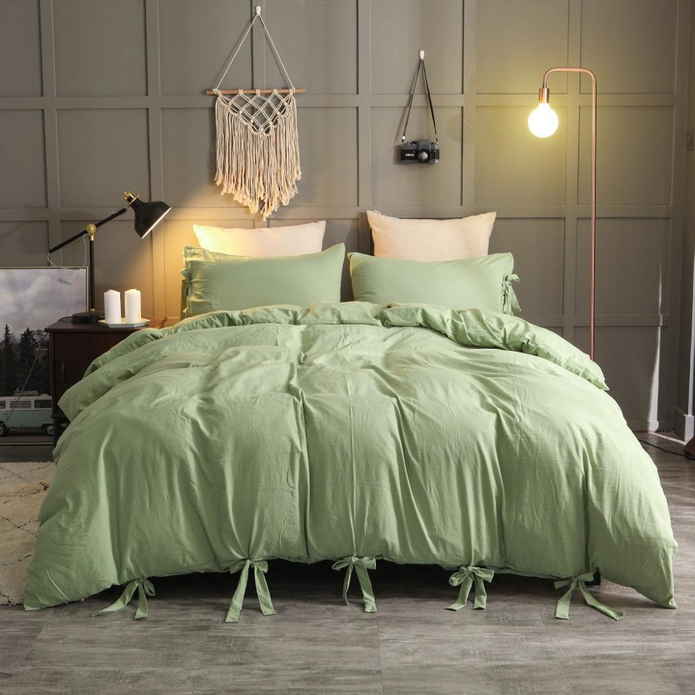 Solid Color Washed Cotton Soft Quilt Cover Twin Queen King Duvet Cover Pillowcase 3 Pieces Home