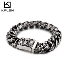 KALEN Punk Skull Charm Bracelet Mens 22cm 21.5cm Stainless Steel Mysterious Symbol Link Chain Armband Boho Homme Jewelry 2019
