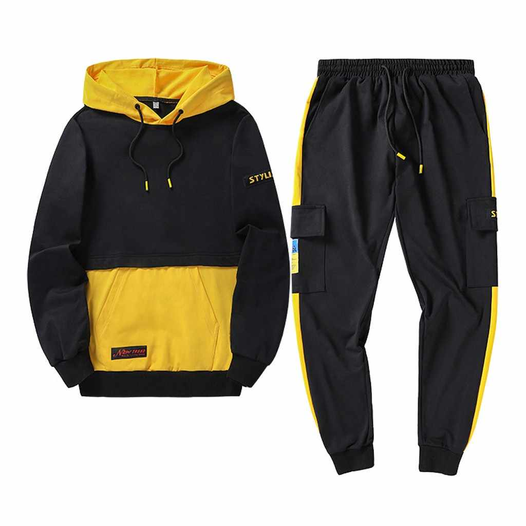 Tracksuit men 2019 Autumn Sportwear Fashion Mens Hip Hop Set 2PC Hooded Sweatshirt Jacket+Pant Suit ropa hombre 9.2