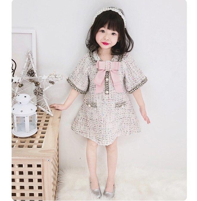 Robes de mère et fille de Style japonais printemps automne bébé filles collier de poupée demi manches perles robe en laine vêtements de famille P83