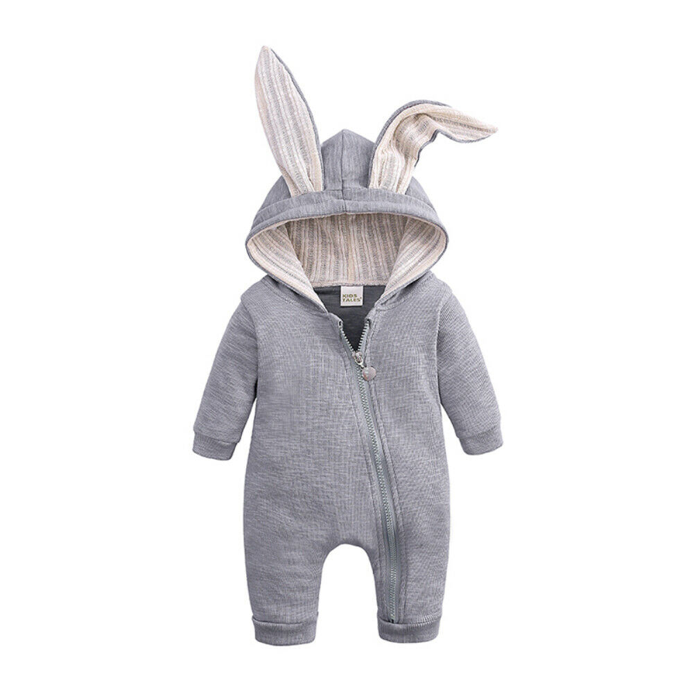 2019 Baby Autumn Winter Clothing Newborn Baby Boy Girl 3D Bunny Ears   Romper   Long Sleeve Clothes Rabbit Overall Zip Warm Jumpsuit