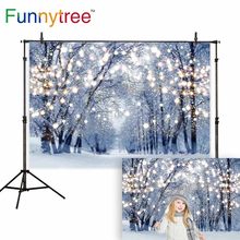 Funnytree background for photo studio winter christmas forest glitter decoration snow nature photography backdrop photocall