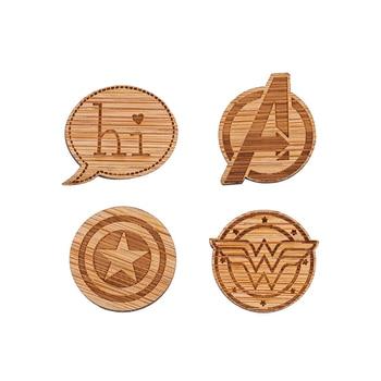 Hfarich Capitán América broche Wonder Woman Badge chaquetas broche de madera pines para mujeres niños y hombres fans de películas joyería