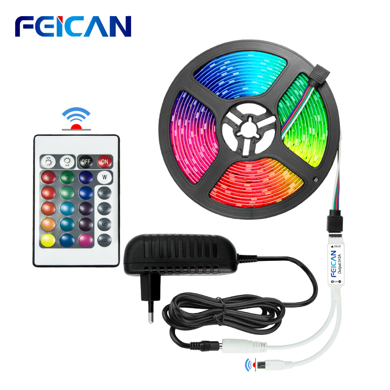 LED Strip RGB Backlight 5050 2835 LED Strip Light Waterproof 12V 44Key Controller RGB Tape Full Set RGB LED Tape  Ambilight Neon