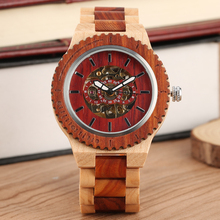 Handmade Maple-Red ebony Wooden Watch Classic Quartz Wooden Watches for Lady Men Special Maple-Red ebony Dial Wooden Wristwatch