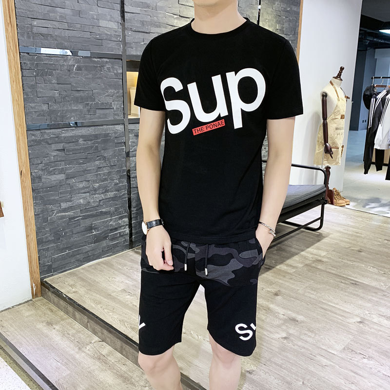 2019 Summer Leisure Sports Suit Men Pure Cotton Popular Brand Printing Short-sleeved T-shirt Camouflage Shorts Two-Piece Set Men