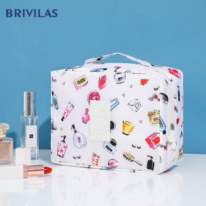 Brivilas Cosmetic Bag Handbag Organizer Square Women Fashion Storage Waterproof Flamingo Make Up Bag Trael Velcro Makeup Case