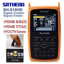 Localizador de satélite digital medidor combo sat finder dvb s2/t2/c localizador de sinal receptor satélite sathero SH-810HD cctv tester câmera