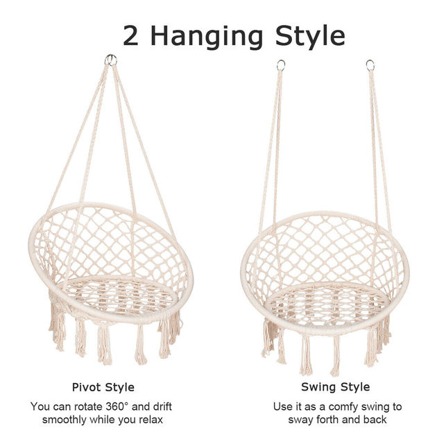 Round Hammock Chair Outdoor Indoor Dormitory Bedroom Yard For Child Adult Swinging Hanging Single Safety Chair Hammock 4