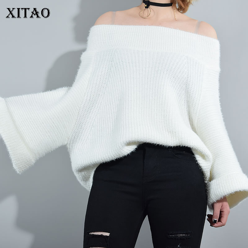 [XITAO] Korea New Autumn Women Solid Color Flare Sleeve Pullover Sweaters Female Full Sleeve Slash Neck Sweaters CXB793