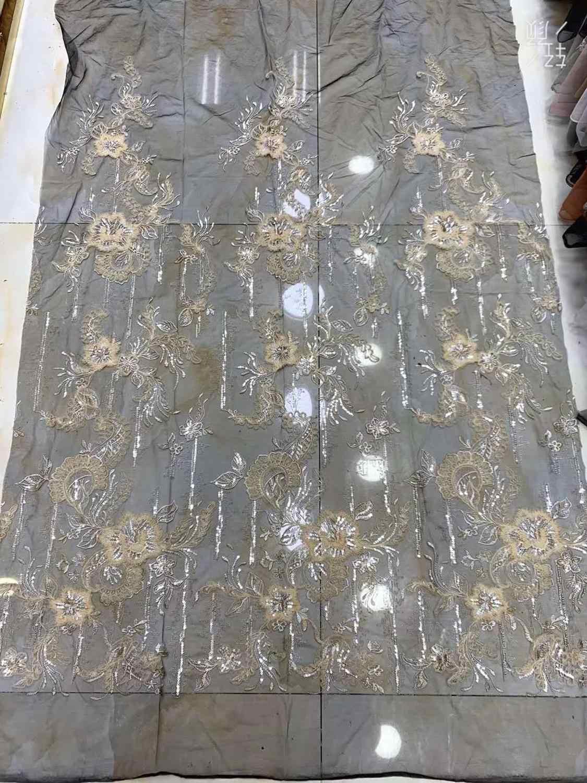 Ultimo Abito Da Sposa di Design Tessuti di Alta Qualità Del Tessuto di Pizzo Francese Maglia Lane e Filati 3D Ricamo Nigeria Del Merletto del Tessuto per la camicia 5 metri