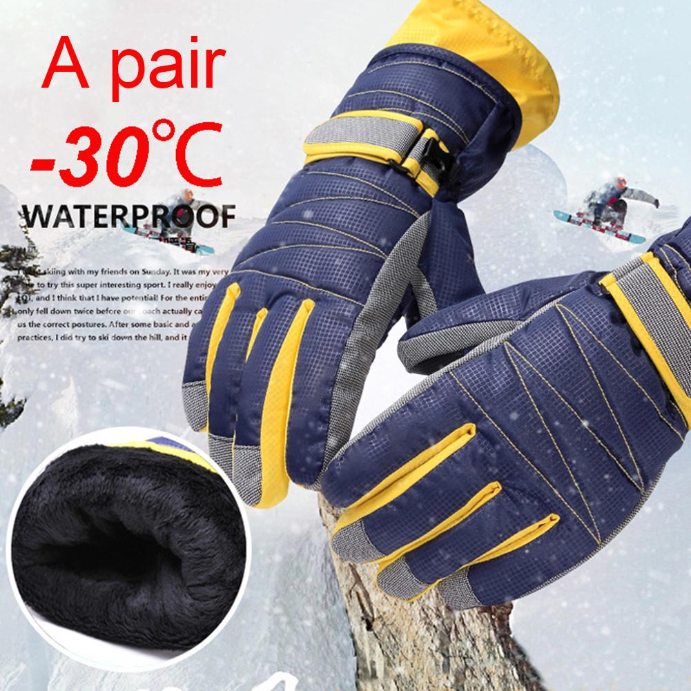 Winter Warm Snowboard Ski Gloves Kids Adults Waterproof Windproof Thick Warm Snow Mittens Glove Cycling Snow Snowmobile Gloves
