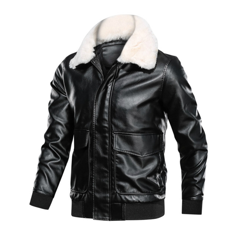 Coat Jacket Sheepskin Genuine-Leather Pilot Brown Militaly Winter Dark Fur-Collar Air-Force