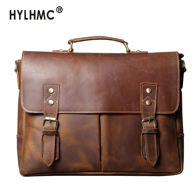 Retro First Layer Cowhide Briefcase Men Bag Leather Business Handbag Laptop Bag Men's Shoulder Messenger Bag Travel Schoolbag