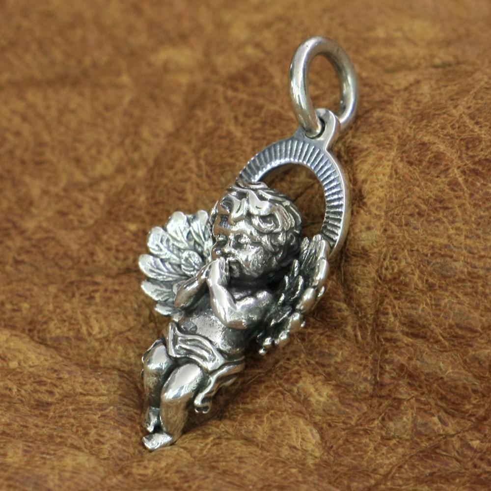 Cupid Pendant 925 Sterling Silver Charms Little Angel God Of Love Pendant TA187 JP