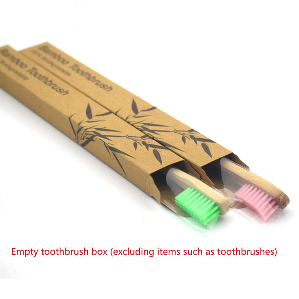200pcs Empty Natural Bamboo Toothbrush Kraft Paper Box Wood Toothbrushes Case Eco-Friendly Products Wholesale