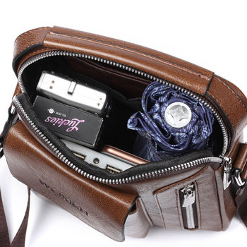 Casual Men Shoulder Bag Vintage Crossbody Bags High Quality Male Bag PU Leather Handbag Capacity Men Messenger Bags Tote Bag 5