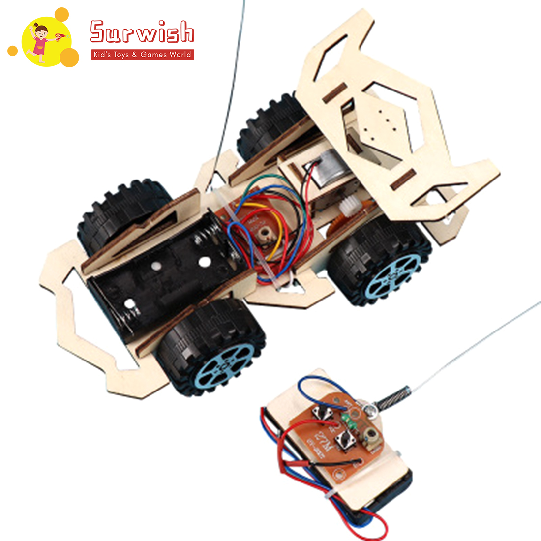 DIY Creative Wooden RC Car Model Science Experiment Puzzle Assembly Toy For Students