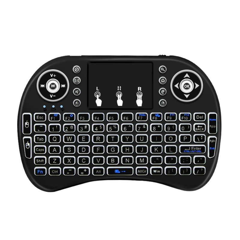2.4Ghz Wireless Keyboard 7 Color Backlit I8 Mini Russian English 3 Colour Air Mouse With Touchpad Remote Control Android TV Box