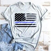 Полицейская рубашка с флагом США тонкая синяя футболка для полицейских