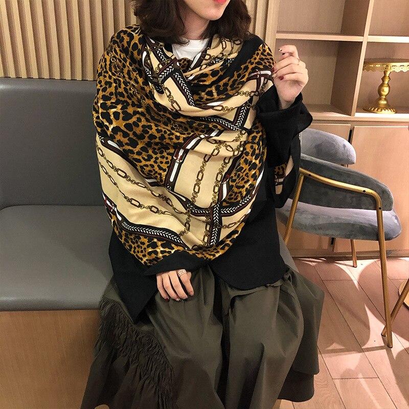 Women Leopard Print Scarf Chain Prints Scarves Girls Brown Leopard Cape Pashmina Shawls Rectangle Wraps Long Scarves