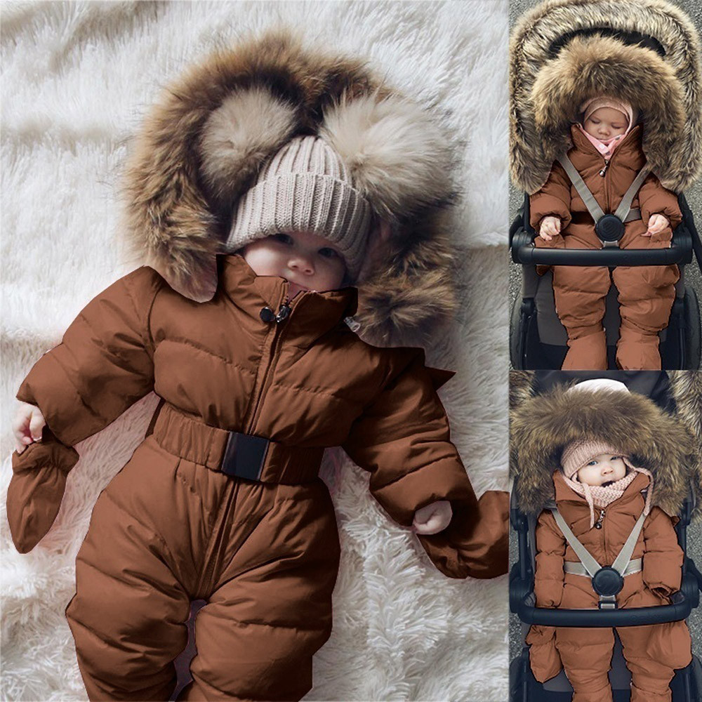 LOOZYKIT Baby Down Jacket Jumpsuit Winter Newborn Baby Jacket Winter Fashion Solid Thick Hooded Romper Baby Winter Warm Suit