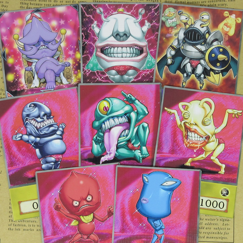 8pcs/set Ojama Series Half-frosted Cards Alien-like Funny Design Red Panty Monsters King Knight Emperor Yugioh Anime Style Orica