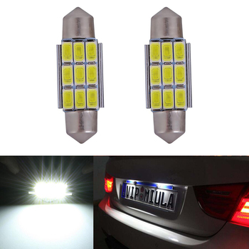 2x Dome Festoon 5630SMD Error free Bright White LED License Number Plate Light For BMW E39 E36 E46 E90 E60 E30 E53 E70 image