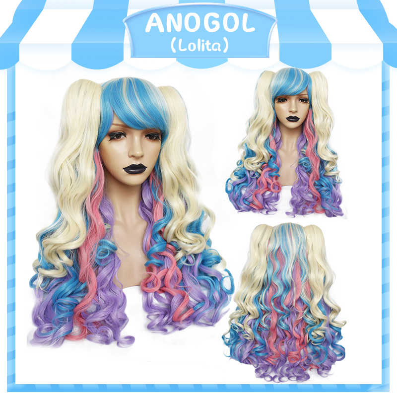 ANOGOL Long Body Wave Lolita High Temperature Fiber Brown Pink Red Black Blonde Multi-color Synthetic Cosplay Wigs 2 Ponytails
