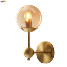 IWHD American Country Copper LED Wall Lamps Bedroom Bathroom Mirror Stair Light Glass Ball Wall Sconce Wandlamp Lampara Pared iwhd glass ball vintage wall lamp industral retro iron wandlamp swing arm wall sconce bathroom fixture led wall light up down