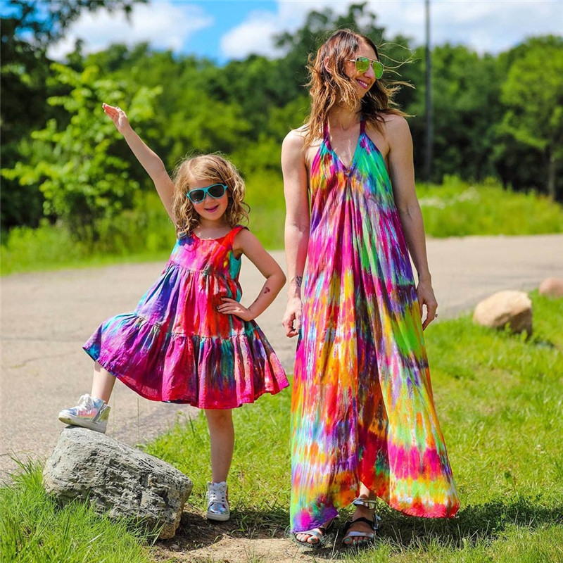 Summer Kids Baby Sleeveless Girls Dress Tie dye Dress Rainbow New Year Party Little Princess Costume Children Beach Clothes 2