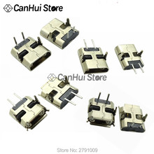 20 pces micro usb 2pin 90/180 graus b tipo conector fêmea para o telefone móvel micro conector jack usb 2 pinos tomada de carregamento