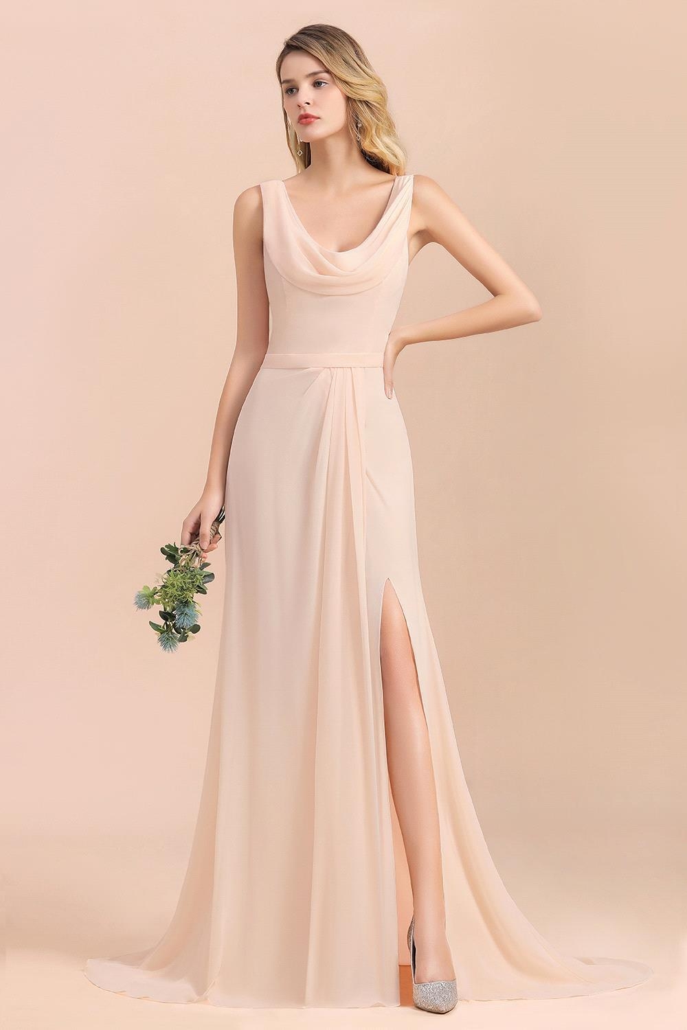 Elegant Sleeveless Chiffon Bridesmaid Dresses Long 2020 Wedding Guest Party Gown High Slit vestido madrinha Custom Made