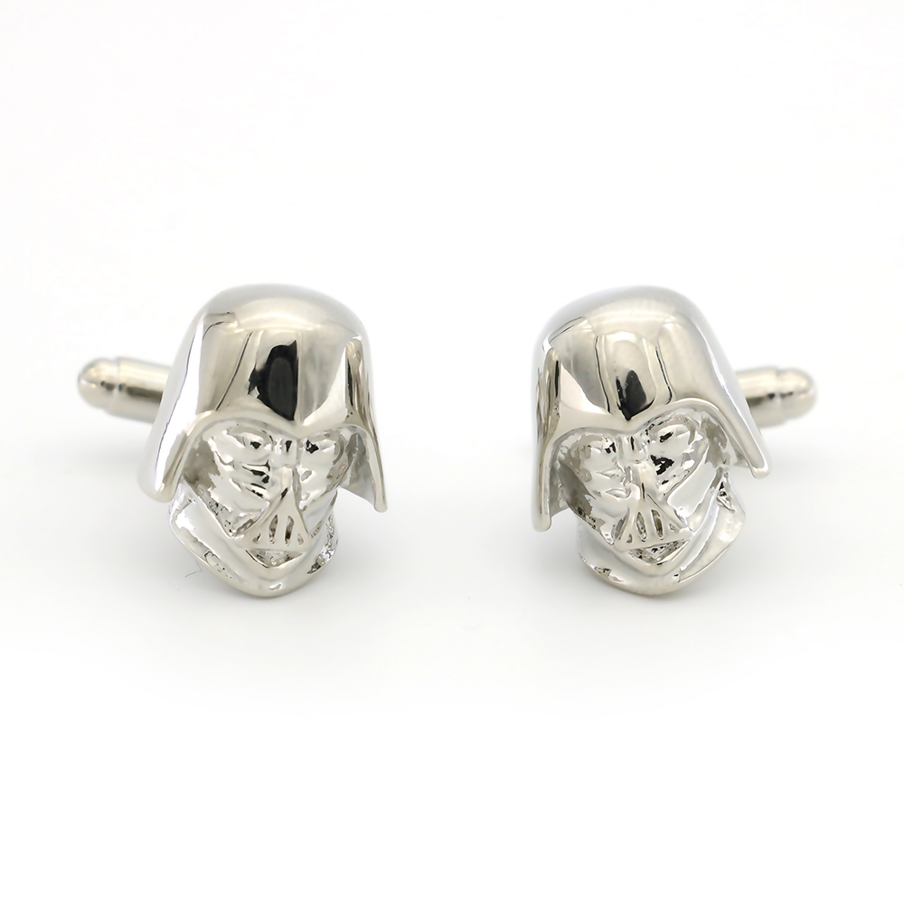 Star War Film Design Darth Vader Cufflinks For Men Quality Brass Material Silver Color Cuff Links Wholesale&retail image