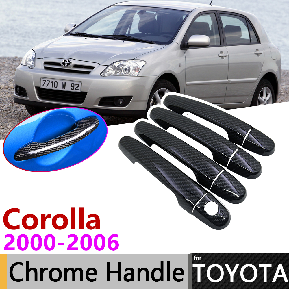 Black Carbon Fiber Exterior Door Handle Cover for Toyota <font><b>Corolla</b></font> <font><b>E120</b></font> E130 2000~2006 Car Accessories Stickers Trim Set Chrome image
