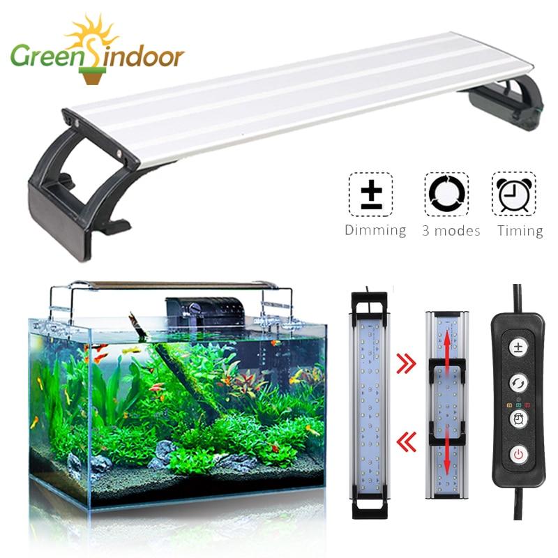 Aquarium Led Lighting Fish Tank RGB Timer LED Grow Light Waterproof Indoor Plants Night Light Dimming Aquarium Decoration Lamp