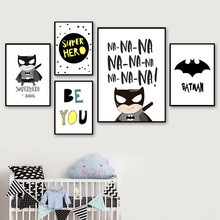 Superhero Batman Alphabet Quote Cartoon Wall Art Canvas Painting Nordic Posters And Prints Pictures Baby Kids Room Decor