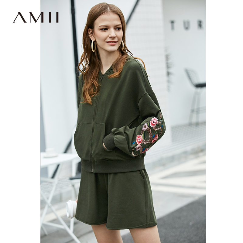 Amii Minimalist Sport Two-pieces Set Autumn Women Embroidered Hooded Jacket Casual Solid Shorts Female Suit 11920103